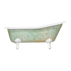 "New Single Slipper 67"" Cast Iron Clawfoot Tub Antiqued, Monet Green"