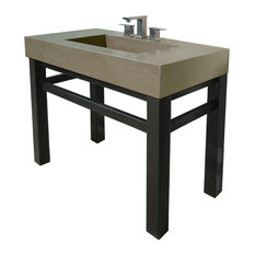 "36"" Industrial Concrete Vanity Bathroom Sink, Pewter, 3 Holes"