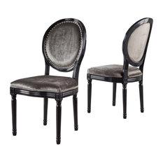 GDF Studio Landon Traditional New Velvet Dining Chairs, Gray, Set of 2