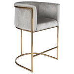"""Statements by J - Mira Gold and Gray 26"""" Counter Chair - Seat height: 26"""" Seat measurements: 19""""dx18.5""""w, Arm: 10""""h, Back: 10.5""""h. This comfortable counter chair will sure update your kitchen's style in a minute"""