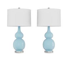 Lavish Home Set of 2 Ceramic Double Gourd Table Lamps, Blue