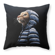 """Cool Cat Throw Pillow Cover, 20""""x20"""" With Pillow Insert"""