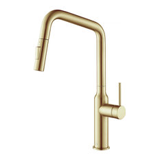 KIBI Macon Single Handle High Arc Pull Down Kitchen Faucet KKF2007, Brushed Gold