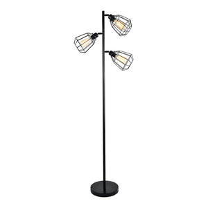 60W 3-Light Floor Uplight Lamp With Metal Shade, UL-Listed