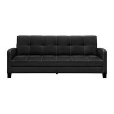 Fast Furnishings Clic Black Faux Leather Futon Sofa Sleeper Futons