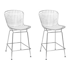 Mid Century Modern Chrome Wire Barstool, Set of 2, White