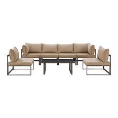 Fortuna 7 Piece Outdoor Patio Sectional Sofa Set, Brown Mocha