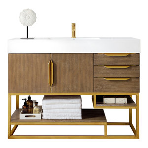 "Columbia 48"" Single Vanity Latte Oak Radiant Gold w/ White Solid Surface Top"