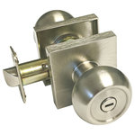 eBuilderDirect - Satin Nickel Square Plate Round Knob Contemporary Door Handle, Privacy - Satin Nickel Square Plate Round Knob Contemporary Privacy Door Handle Style: 5765-6085 fit both left and right handed doors.