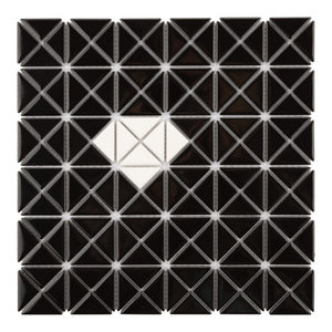 SomerTile ADB3MWWB Tri Mini Diamond Porcelain Mosaic Floor and Wall Border White with Black Tile 2.63x10.88 2.63 x 10.88