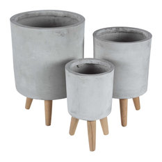 Modern Cylindrical Fiber Clay Planters With Wooden Legs, 3-Piece Set, Gray