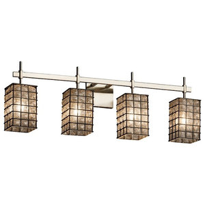 Justice Design Wire Union 4-Light Bath, Grid/Clear Bubbles/Brushed Nickel