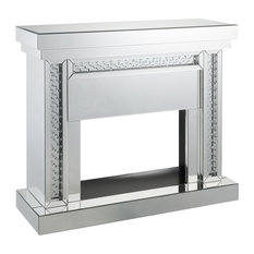 Wood and Mirror Electric Fireplace With Embedded Faux Crystals, Clear