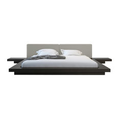 Worth Bed, Queen, Wenge/Warm Gray Leather, Queen