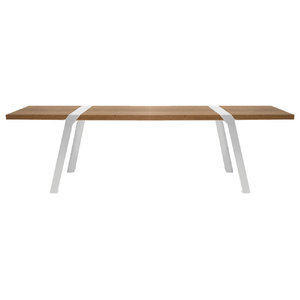 Solid Oak and Steel Dining Bench, White Steel, Small