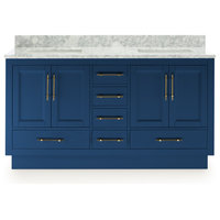 Kendall Blue Bathroom Vanity With Plinth Base, 60""