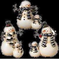 Resin Coupled Snowmen Figurines, Set of 3