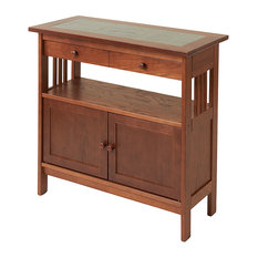 Manchester Wood, Inc.   Slate Top Console Table, Chestnut   Console Tables