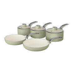 Swan - Retro 5-Piece Pan Set, Green - Saucepans
