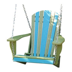 Poly Lumber Adirondack Swing Chair with Chains, Aruba Blue/Lime Green