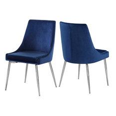 Karina Velvet Dining Chairs, Set of 2, Navy, Chrome Base