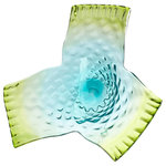 Cyan Design - Three Dreams Plate - Add a splash of marine-inspired color to a side table or console using the Three Dreams Plate. Made from indented clear, blue, and green glass, this decorative plate is pretty and vibrant. Display it alongside elements of beach style decor for a cohesive look.