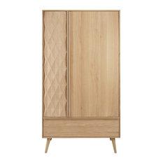 Maisons du monde - Guardaroba a 2 ante e 1 cassetto in legno massello di quercia francese Keops - Armadi e guardaroba