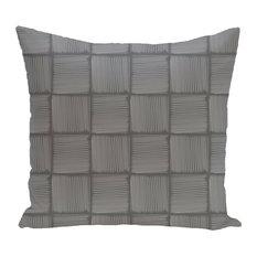 """Basketweave Geometric Print Pillow, Gray, 20""""x20"""""""