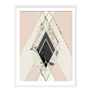"""""""We've Reached The Top"""" Abstract Art Print, White Framed, 40x50 cm"""