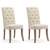 Rochelle Natural Linen Tufted Dining Chairs, Set of 2