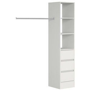 Deluxe 3 Drawer Tower Shelving Unit with Hanging Bars, White, 450mm