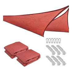 11.5' Uv Proof Triangle Sun Shade Sail Patio Outdoor Cover, Set of 2, Red
