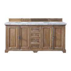 "Providence 72"" Driftwood Double Vanity w/ 4cm Carrara White Marble Top"