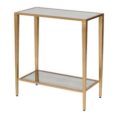 Joyce 2 Tier Table with Antique Mirror Shelves - Gold