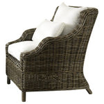 Padma's Plantation - Tenerife Lounge Chair, Kubu - Create a resort feel in your home or sunroom with our newest Kubu Lounge chair. It features a comfortable wing-back wicker construction in a washed-out Kubu finish that complements a Beach or shabby-chic design, as well as many others.