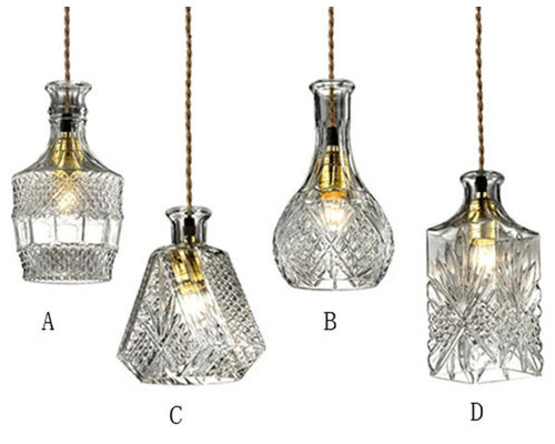 gloria vintage decanter bottle pendant light with adjustable cable clear glass pendant lighting cable pendant lighting