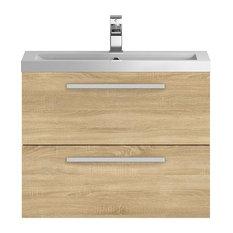 Quartet Contemporary Bathroom Vanity Unit, 72 cm, Oak