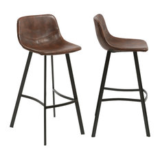 "Btexpert - 30"" Faux Leather Upholstered Crocodile Skin Metal Barstools, Set of 2 - Bar Stools and Counter Stools"