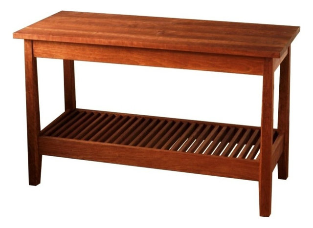 Solid Cherry Kitchen Work Table With Slated Shelf, Locking Casters