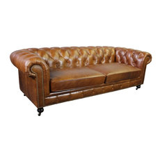 Larson Top Grain Vintage Leather Chesterfield Sofa, Light Brown