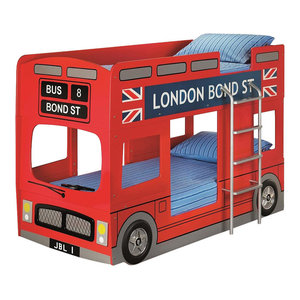 Modern Bunk Bed, Painted MDF With Side Steel Ladder, London Bus Design