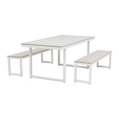 Kinzie Outdoor Dining Set 372, Textured White Frame With Sand