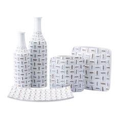 Zuo Décor Mosaic Square Vase Sm Antique White