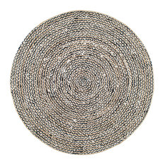 Jute And Cotton Pinstripes, Black, 8' Round