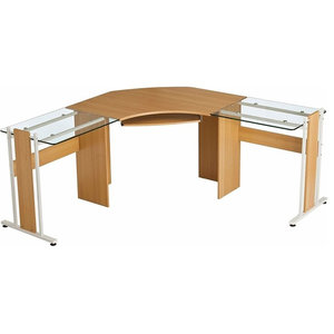 Large Corner Desk, MDF With Glass Wings and Keyboard Tray, Modern Design, Oak