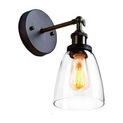 Old Fashion Simplicity Glass Wall Sconce Metal Base Cap