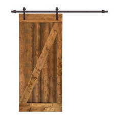 "TMS Z Bar Barn Door With Sliding Hardware Kit, Walnut, 36""x84"""