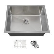 "Stainless Steel Single Bowl 3/4"" Radius Sink, 16-Gauge, Ensemble"