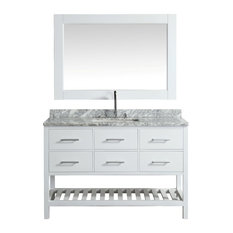 "Design Element London 54"" Single Sink Vanity Set, White With Marble Top"