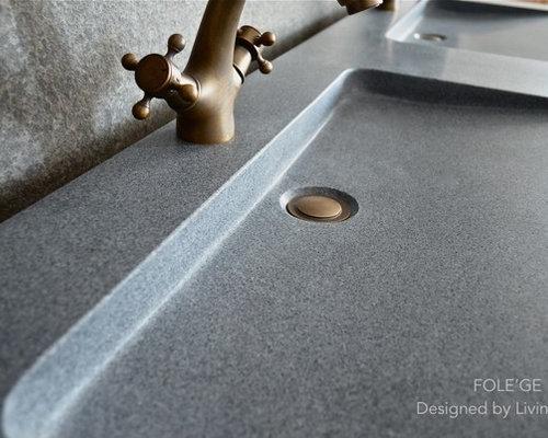 Double vasque plan en pierre Granit 160x50 luxe : FOLEGE